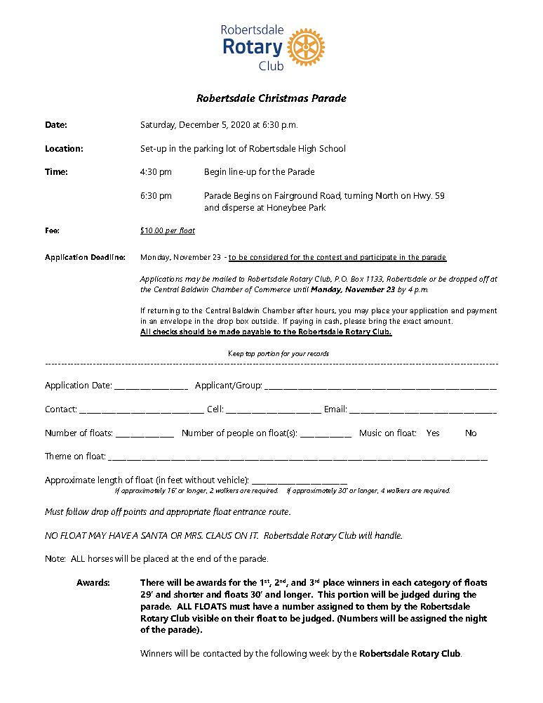 Application to Enter Float in Robertsdale Christmas Parade